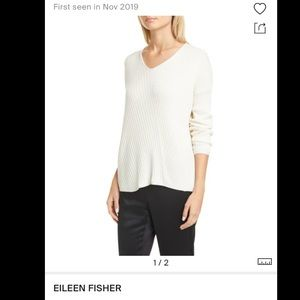 NWT Eileen Fisher Ribbed Creme Long Sleeve Top